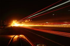 Night Photography. Open Shutter, camera placed on my car.