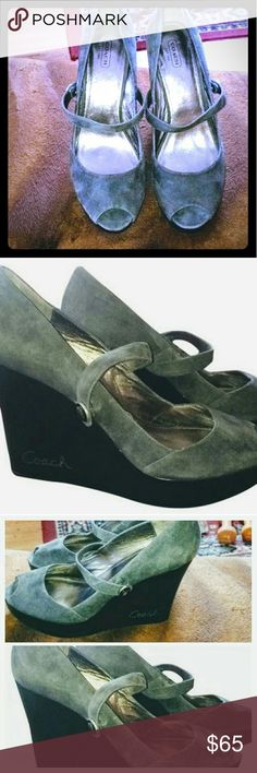 COACH SUEDE SANDAL WEDGES (10M) MINT CONDITION! GENTLY USED! 3INCHES! GRAY SUEDE! Coach Shoes Sandals