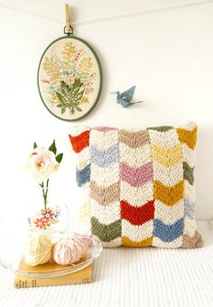 Crochet your own Chevron Cushion Cover!    This delightful and colourful modern geometric design is easy to make. With lots of photos and