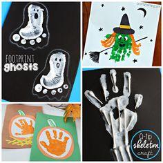 handprint footprint crafts halloween