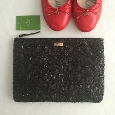 "KS Gia Crystal Court black sparkly sequin clutch Authentic Kate Spade Gia ""Crystal Court"" black sparkly sequin clutch. Measures approx. 10"" x 7"". Brand new with tags. kate spade Bags Clutches & Wristlets"