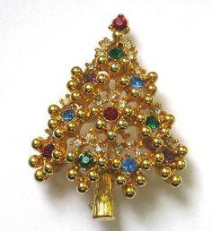 Vintage Signed EISENBERG CHRISTMAS TREE Brooch