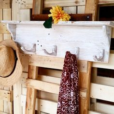 Recycled timber hook shelf
