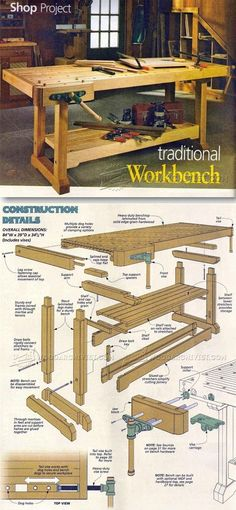 Traditional Workbench Plans - Workshop Solutions Projects, Tips and Tricks   WoodArchivist.com #woodworkingideas #woodworkingbench