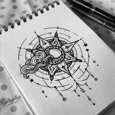 https://www.instagram.com/polillatattoo/ Compass mandala dreamcatcher sun