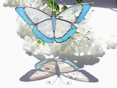 Butterfly Stained Glass Suncatcher, Home Decor, Hanging Garden Ornament, Wedding Decor, Window Glass Art, Mother's Day Gift