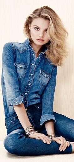 Magdalena Frackowiak Wears Denim on Denim for H&M
