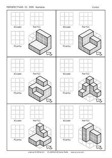 Tecno Recursos/Dibujo/Perspectiva - Wikilibros Isometric Sketch, Isometric Art, Isometric Design, Geometric Drawing, Geometric Shapes, Isometric Drawing Exercises, Zentangle, Orthographic Drawing, Architecture Drawing Sketchbooks