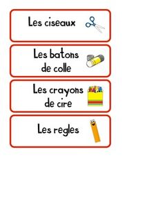 These are organizational labels that you may use to help label some of the containers in your class. You may need to add some accents, as the font I used does not have any accents. Learn French, Compassion, French Posters, Students, Classroom, Ads, Learning, School, Organizing