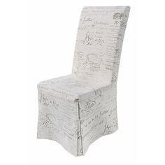 French Country Calligraphy Covered Dining Chair #theorchardpintowin This would be great for sitting at my dressing table.