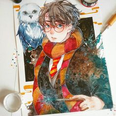 Harry potter Harry and Hedwig Harry Potter Fan Art, Harry Potter Part 1, Fans D'harry Potter, Images Harry Potter, Harry Potter Drawings, Harry Potter Fandom, Hogwarts, Manga Watercolor, Desenhos Harry Potter