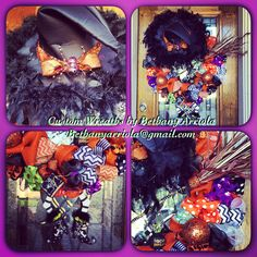 Custom witch is in ribbons and burlap 2014 halloween wreath for my front door. Custom wreaths by Betgany Arriola