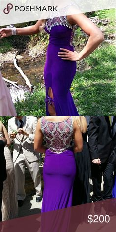 Prom dress Very comfy! Worn once! Stretchy. I'm a 4 but I had a girl try it on and she's a 2 and fit like a glove for both of us! I'm also 5'4 and I wore 4 inch heels in the pictures! But has a long terrain. Dresses Prom