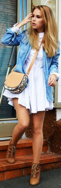 White Pointed Hem Pleated Skirt Skater Dress by Stylary