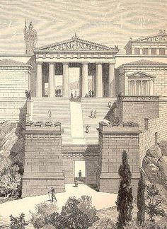Propylaea and Temple of Athena Nike at the Acropolis (Pierer) - Propylaea - A 19th-century drawing of what the Propylaea might have looked like when intact