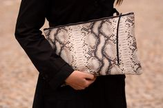 Oversized Snake- Pyton Textured Leather Clutch, Calf Leather