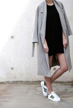 Fall style | Long grey coat, black mini dress and Adidas sneakers