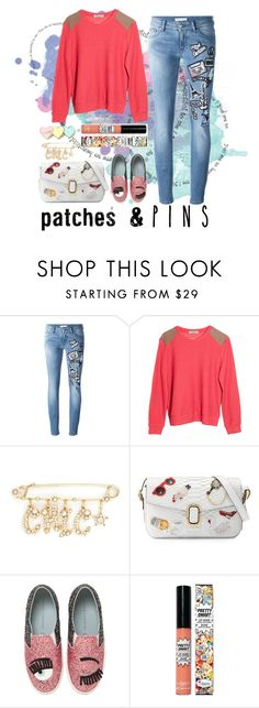 """Untitled #59"" by myrealityrehashed ❤ liked on Polyvore featuring Pierre Balmain, Sam&Lavi, Miriam Haskell, Marc Jacobs, Chiara Ferragni, TheBalm and patchesandpins"