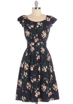 Get What You Dessert Dress in Midnight Blossoms. Sit down to a well-deserved cupcake in this black floral dress by Emily and Fin.  #modcloth