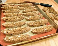 Gingerbread Biscotti Slices on Baking Sheet