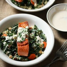 These healthy sockeye salmon and quinoa bowls are a great quick and easy dinner idea. The recipe is packed with kale and topped with a tahini-yogurt sauce.