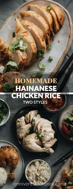 Homemade Hainanese Chicken Rice two ways - the original and the soy sauce version, served with rice, soup, and a salad. Hainanese Chicken Rice Recipe, Chicken Rice Recipes, Hainan Chicken Rice, Wine Recipes, Asian Recipes, Ethnic Recipes, Chinese Recipes, Asian Desserts, Asian Foods