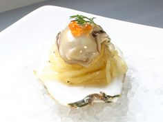 modern plated French pastries | Pickled Oyster with Spaghetti Squash and Salmon Roe