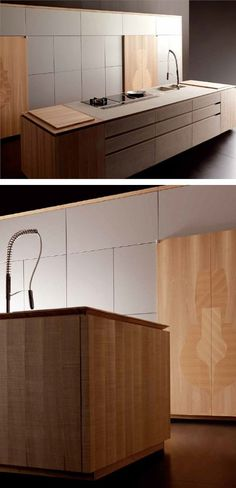 Did anyone else see the light globe shapes in the timber of the tall doors? Wooden with island by TONCELLI CUCINE Loft Kitchen, Modern Kitchen Cabinets, Wooden Kitchen, Kitchen Interior, Kitchen Dining, Kitchen Decor, Beautiful Kitchen Designs, Modern Kitchen Design, Cocinas Kitchen