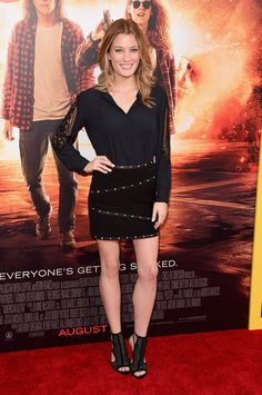 Ashley Hinshaw arrives at the Premiere Of Lionsgate's 'American Ultra' at  Ace Theater Downtown