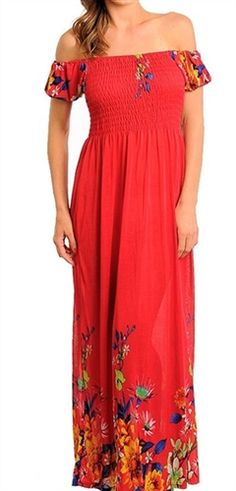 sexy pretty red floral long maxi sundress has smocked chest and empire waist, beach maxi dress, red festival dress in maxi dresses, off shoulders maxi dress in tribal print dresses, instyle peasant maxi dresses for day dress, party maxi dresses, red dress