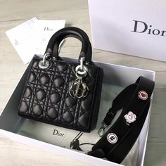 bd4bfd0090 Dior My Lady Dior Bag With Badge Shoulder Strap Black Cruise 2017(Silver  Hardware)