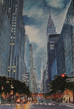New York .New York - 2015 Aquarelle 55 x Fabriano 300 gr, Original price: 1000 Euro, exclusive high end imprint on aquarelle paper - 100 Euro Euro, The 100, New York, The Originals, Live, Paper, Painting, New York City, Painting Art