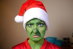 The Grinch make-up transformation