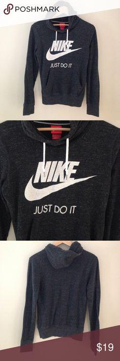 Nike Vintage style hoodie sweatshirt Excellent condition hoodie. Dark grey charcoal color.Light weight & soft material Nike Tops Sweatshirts & Hoodies