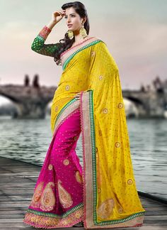 Yellow And Magenta Faux Georgette Half And Half Saree