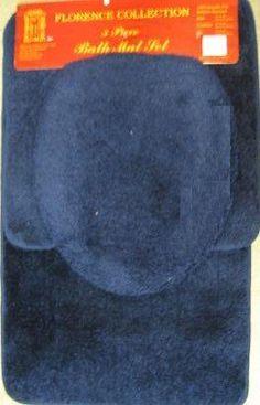 $12.99 3 PIECE BATHROOM RUG, CONTOUR & LID COVER SET - NAVY BLUE  From Extras