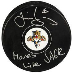 Autographed Florida Panthers Jaromir Jagr Fanatics Authentic Hockey Puck with Moves Like Jagr Inscription
