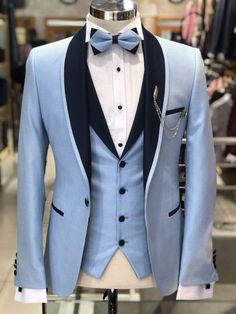 Wedding Suits Slim-Fit Tuxedo Suit Blue – BOJONI - Available Size : material : Cotton, LinenMachine washable : No Fitting : slim-fit Remarks : Dry Cleaner Slim Fit Tuxedo, Tuxedo Suit, Tuxedo For Men, Prom Tuxedo, Black Tuxedo, Black Plaid, Indian Men Fashion, Mens Fashion Suits, Mens Suits