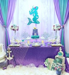 ▷ 1001 + cool and fun baby shower ideas for girls - - ▷ 1001 + cool and fun baby shower ideas for girls mermaid theme, baby shower ideas for girls, purple and turquoise decorations, dessert table, large flower bouquets Mermaid Baby Shower Decorations, Mermaid Bridal Showers, Baby Girl Shower Themes, Baby Shower Table, Baby Shower Fun, Baby Shower Mermaid Theme, Mermaid Babyshower Ideas, Babyshower Themes For Girls, Mermaid Birthday Party Decorations Diy