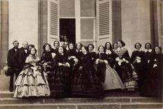 "thevictorianlady: "" Empress Eugenie and her court, 1856. """