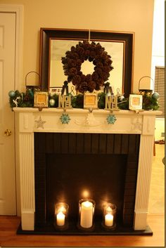 This is the one without the stocking hangers. Love that this fireplace is homemade Will add my battery string of lights