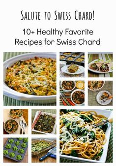 Salute to Swiss Chard and 10 Favorite Healthy Swiss Chard Recipes; these ideas can help you eat your greens! [from KalynsKitchen.com] #HealthyGreens #SwissChard #HealthyRecipes