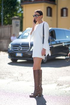 Street Style - All white looks - Boot It - HarpersBAZAAR.com