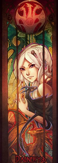 Something like this could work as fake stained glass; a large full-color window-cling.    - Daenerys Stormborn, by Stalitdragon (deviantArt)
