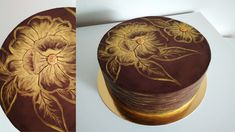 Chocolate cake with painted flower. Cake Decorating Tips, Gold Flowers, Chocolate Cake, Cupcakes, Canning, Tableware, Design, Chicolate Cake, Chocolate Cobbler