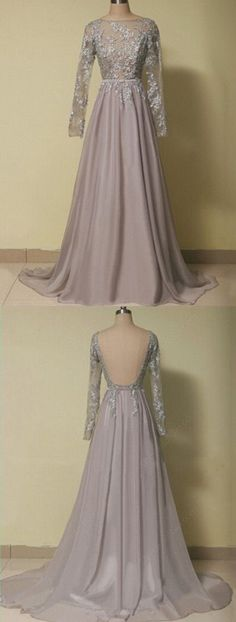 Custom Made Charming Chiffon Prom Dresses,Sexy Backless Evening Dresses,Long Sleeves Prom Dresses,Beading Appliques Evening Dress