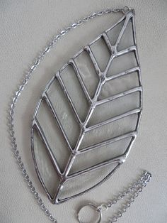 Winter Leaf Sparkling Clear Stained Glass Suncatcher
