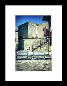 Italian Square With Benches Framed Print - ©Silvia Ganora - All rights reserved. #prints  #italy #italian #architecture #europe #european