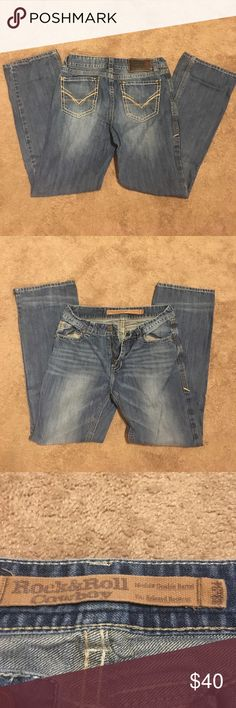 Rock and Roll Cowboy Jeans Worn a few times but they are not my boyfriend's style! Very nice denim that is soft but durable! Relaxed fit that is very flattering and comfortable! Size 33X34 but would also fit like a slim 34! Rock and Roll Cowboy Jeans Bootcut