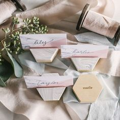 Our Marbleized Hexagon Place Card Holder is . #esselle #hexagon #wedding